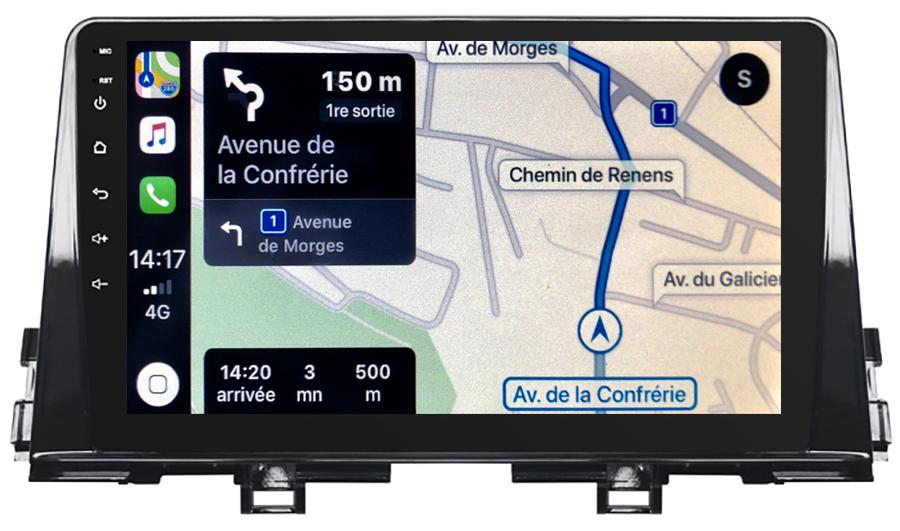 Autoradio tactile GPS Android 10.0 et Apple Carplay Kia Picanto depuis 2017