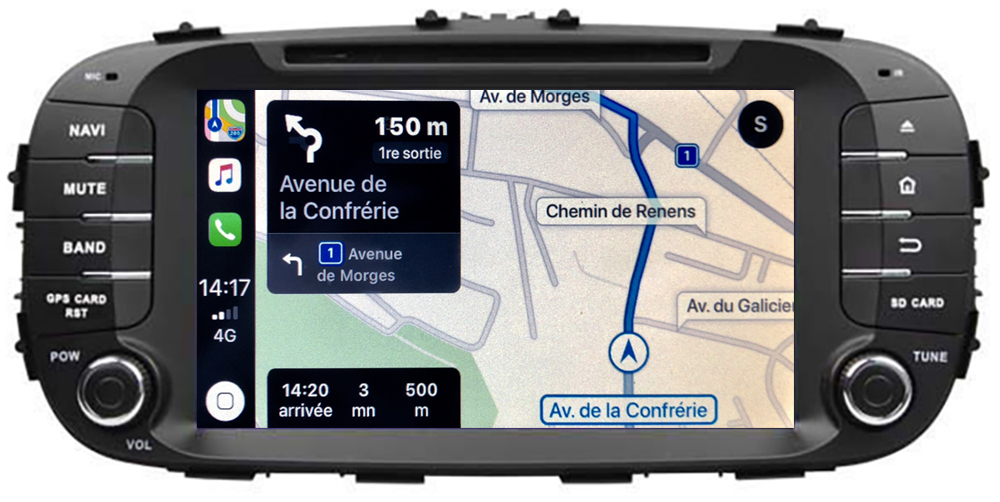 Autoradio tactile GPS Android 10.0 et Apple Carplay Kia Soul de 2014 à 2018