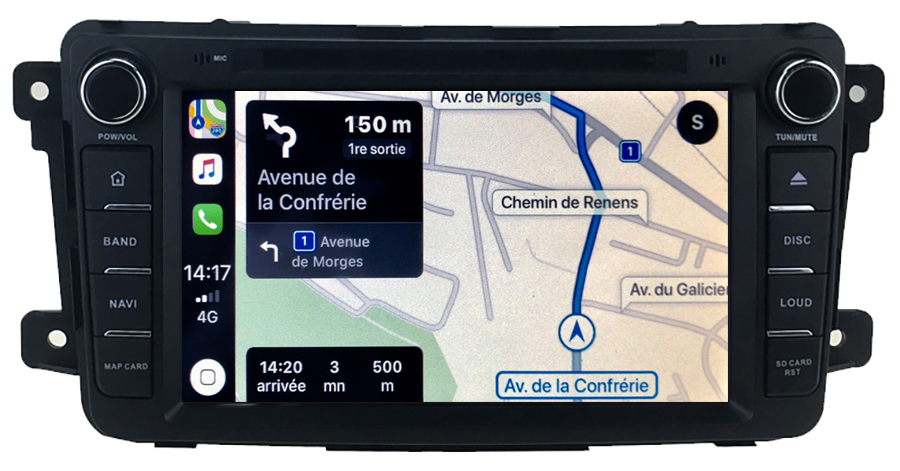 Autoradio tactile GPS Android 10.0 et Apple Carplay Mazda CX-9 de 2007 à 2015