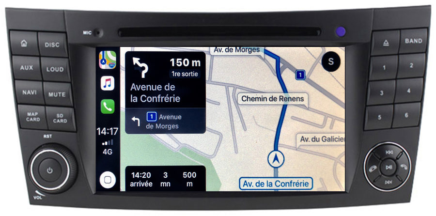 Autoradio tactile GPS Android 10.0 et Apple Carplay Mercedes Benz Classe E W211 et Classe G W463 et CLS