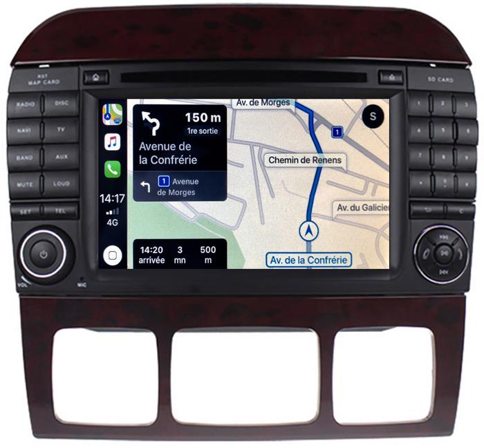 Autoradio tactile GPS Android 10.0 et Apple Carplay Mercedes Benz Classe S de 1998 à 2005