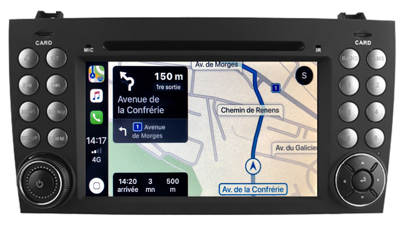 Autoradio tactile GPS Android 10.0 et Apple Carplay Mercedes SLK de 03/2004 à 03/2011