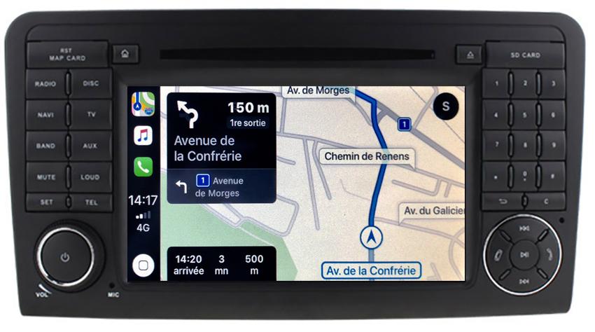 Autoradio tactile GPS Android 10.0 et Apple Carplay Mercedes ML W164 et GL X164 de 2005 à 2012
