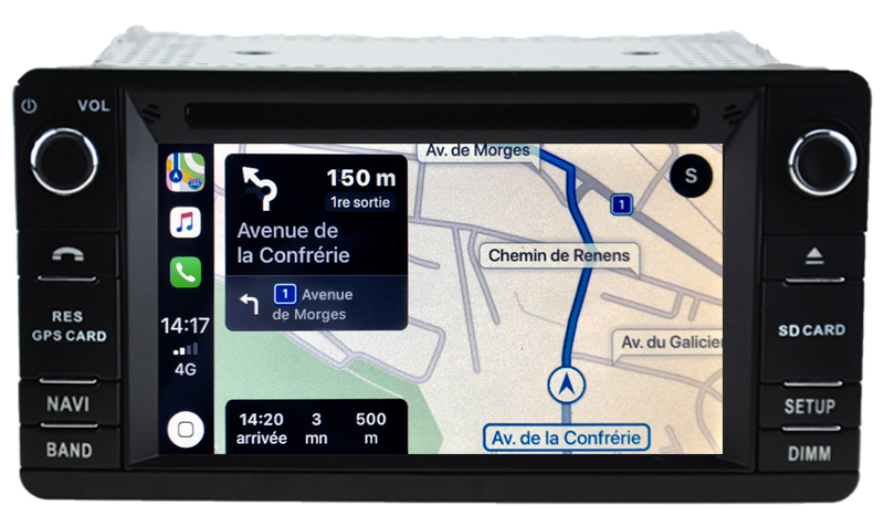Autoradio tactile GPS Android 10.0 et Apple Carplay Mitsubishi Outlander, ASX et L200 de 2012 à 2020