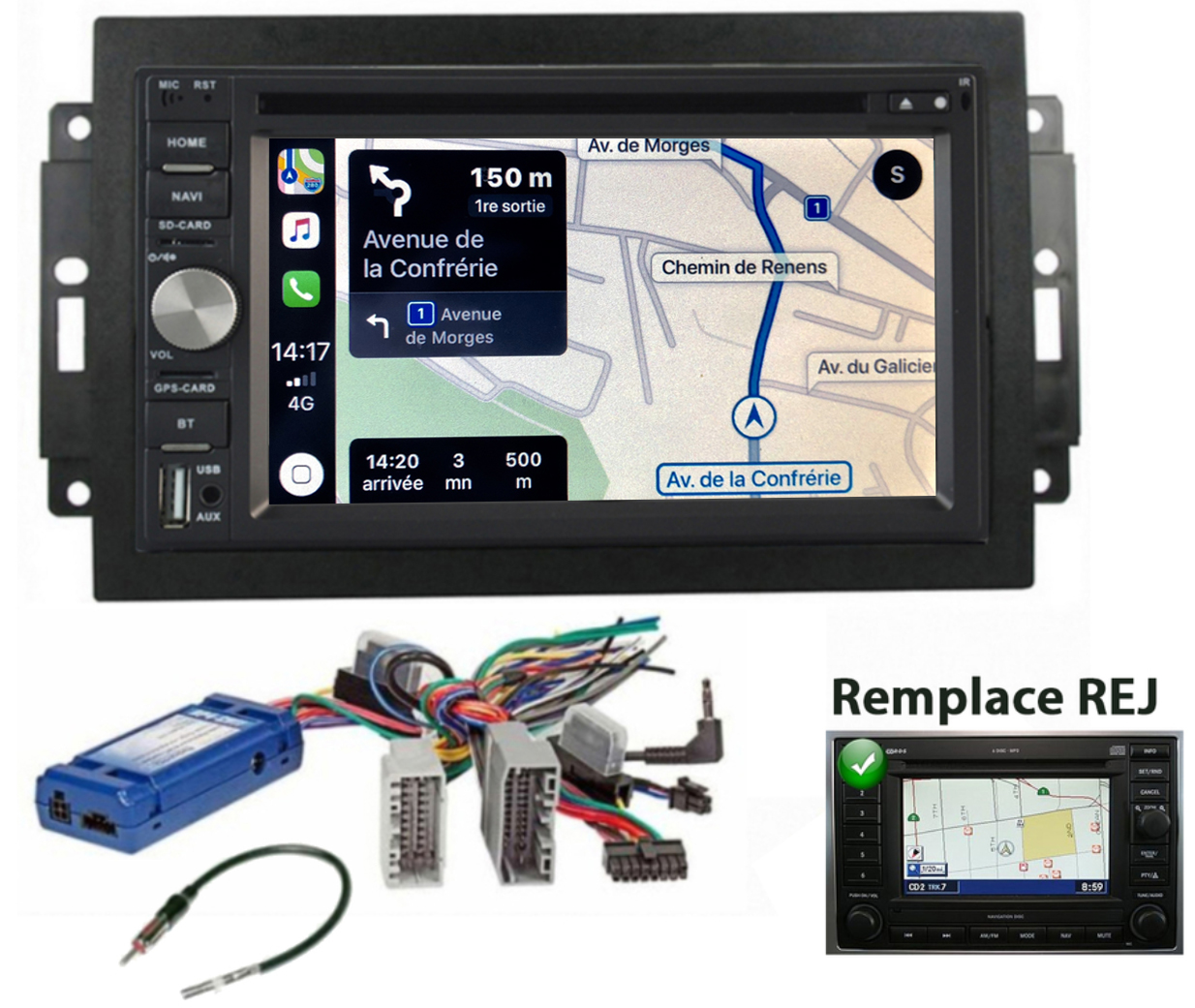 Autoradio tactile GPS Android 10.0 et Apple Carplay Jeep Grand Cherokee, Compass et Commander de 2006 à 2010 (Remplace autoradio REJ d\'origine)