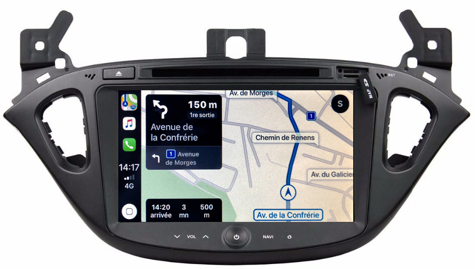 Autoradio tactile GPS Android 10.0 et Apple Carplay Opel Corsa et Adam de 2013 à 2019