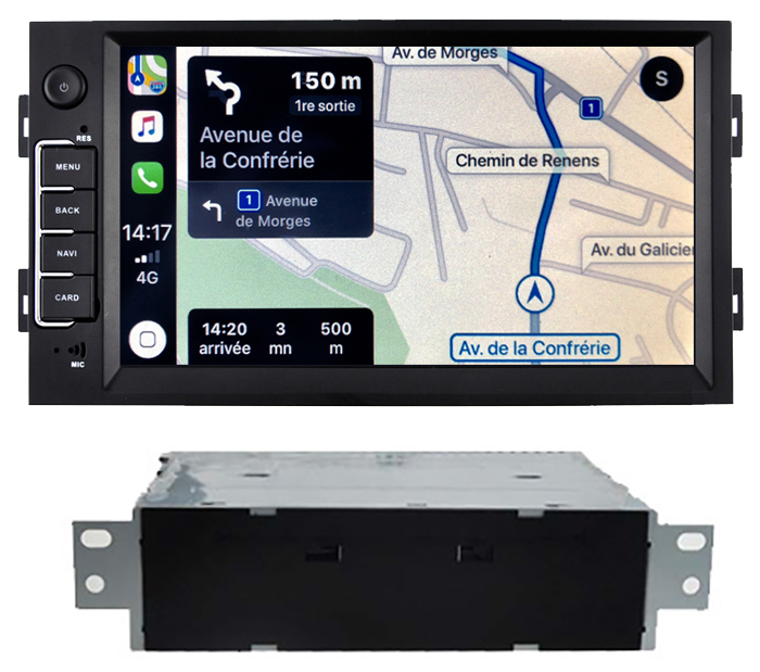 Autoradio tactile GPS Android 10.0 et Apple Carplay Peugeot 308 de 2013 à 2018