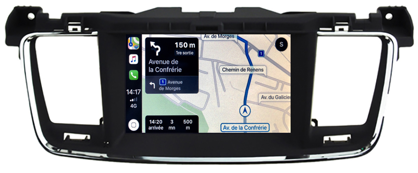 Autoradio tactile GPS Android 10.0 et Apple Carplay Peugeot 508 de 2012 à 2018