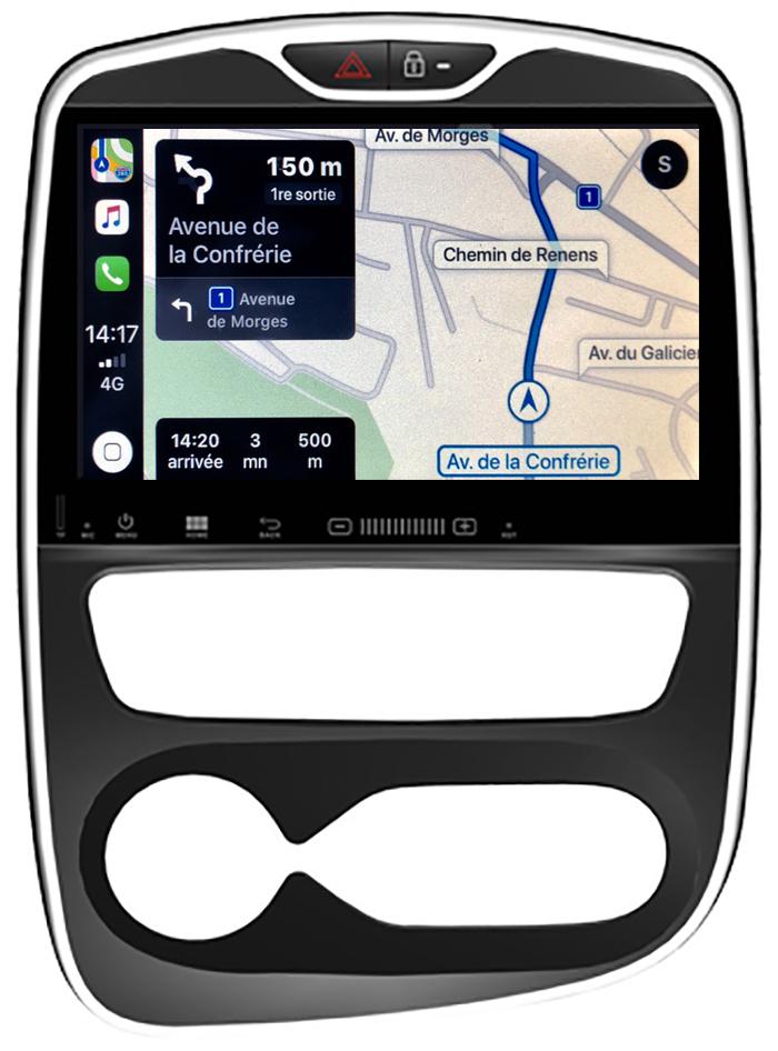 Autoradio tactile GPS Android 10.0 et Apple Carplay Renault Clio IV de 2012 à 2018