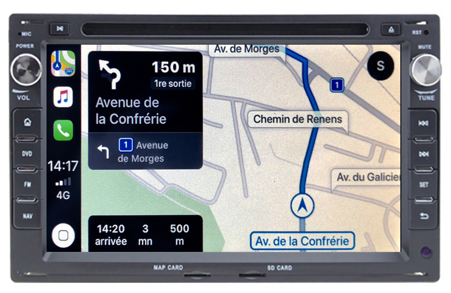 Autoradio tactile GPS Android 10.0 et Apple Carplay Volkswagen Fox Sharan Transporter Polo Golf Bora Lupo et Passat