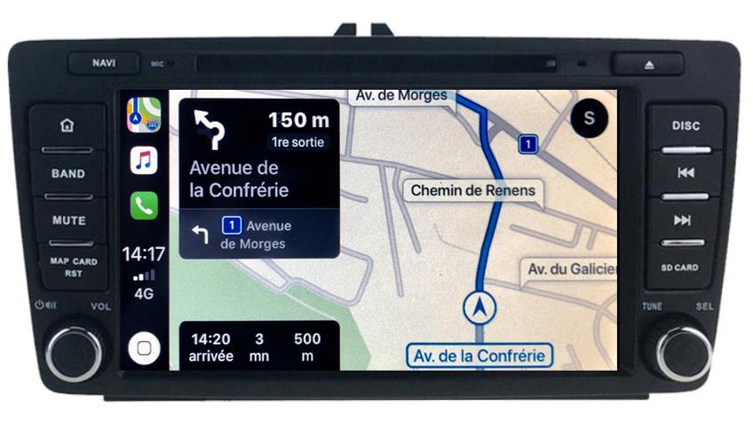 Autoradio tactile GPS Android 10.0 et Apple Carplay Skoda Octavia de 04/2004 à 2013 & Yeti de 2009 à 2017