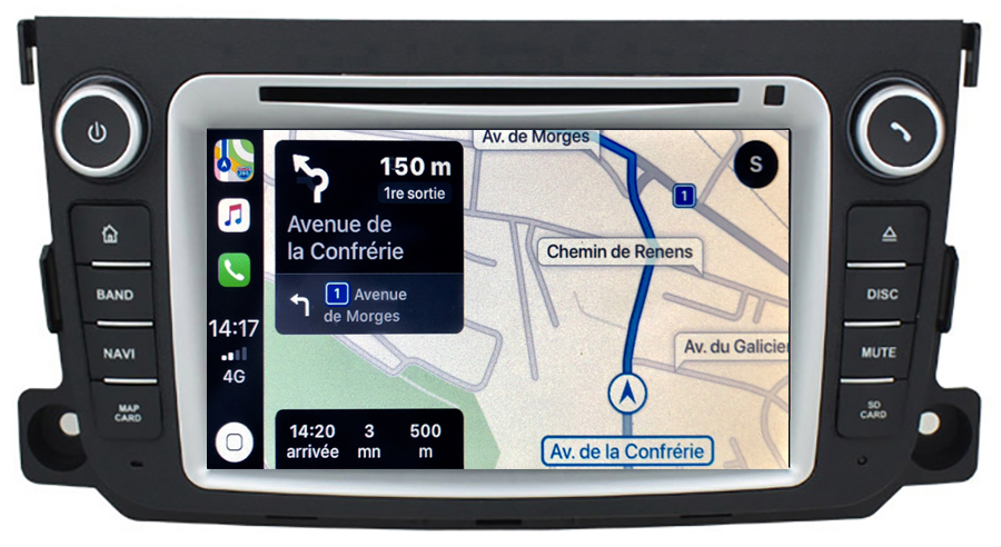 Autoradio tactile GPS Android 10.0 et Apple Carplay Smart Fortwo de 2010 à 2015