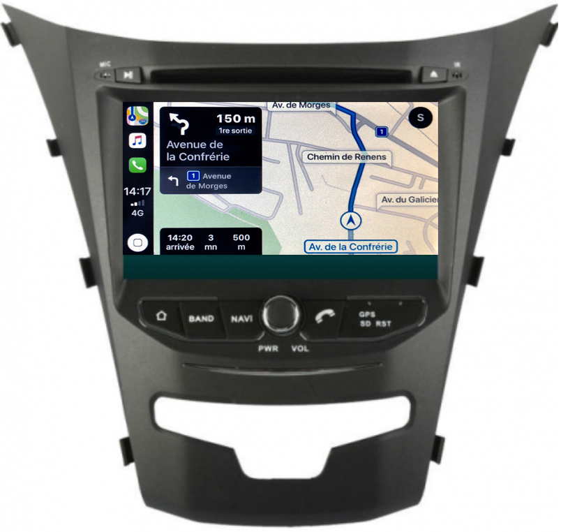 Autoradio tactile GPS Android 10.0 et Apple Carplay Ssangyong Korando de 2014 à 2019