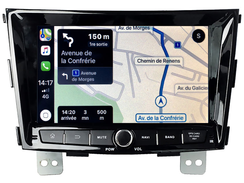 Autoradio tactile GPS Android 10.0 et Apple Carplay Ssangyong Tivoli de 2015 à 2019