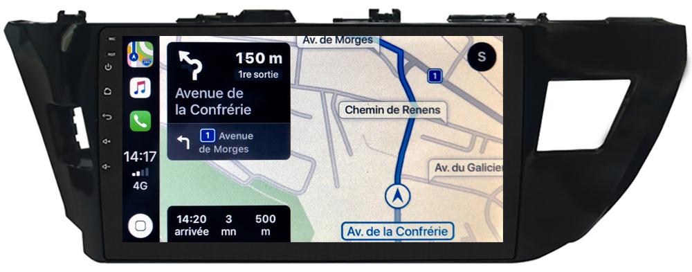 Autoradio GPS à écran tactile QLED Android et Carplay sans fil Toyota Auris de 2013 à 2015 et Corolla de 2014 à 2016