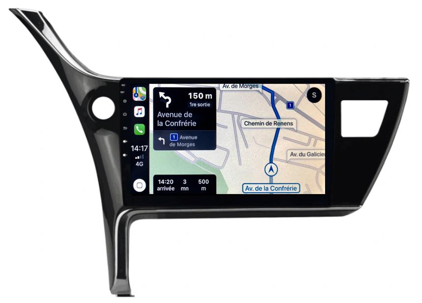 Autoradio tactile GPS Android et Carplay sans fil Toyota Auris de 2015 à 2018 et Corolla de 2017 à 2018
