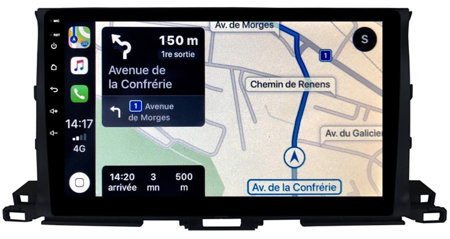 Autoradio GPS à écran tactile QLED Android 10.0 et Apple Carplay sans fil Toyota Highlander depuis 2015