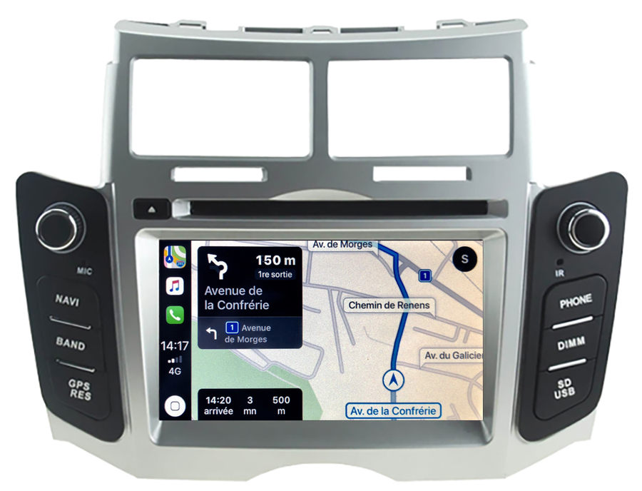 Autoradio tactile GPS Android 10.0 et Apple Carplay Toyota Yaris de 2005 à 2011