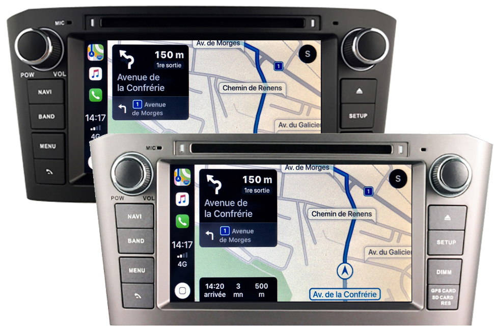 Autoradio tactile GPS Android 10.0 et Apple Carplay Toyota Avensis de 02/2003 à 2009