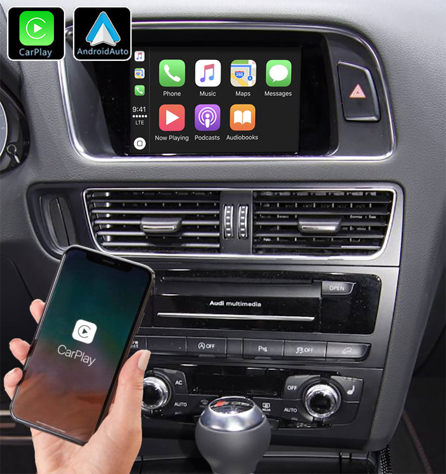 Système Apple Carplay sans fil et Android Auto pour Audi Q5 de 2009 à 2017