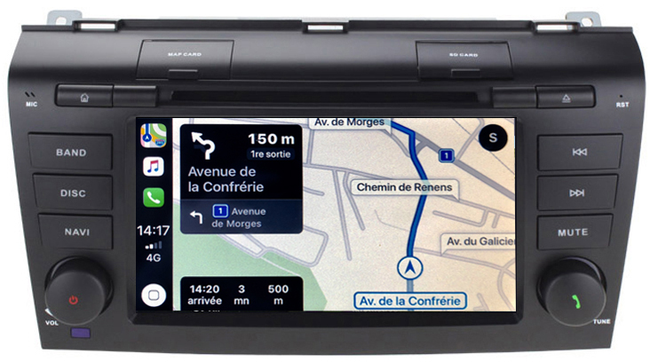 Autoradio tactile Android 9.0 Bluetooth et GPS Mazda 3