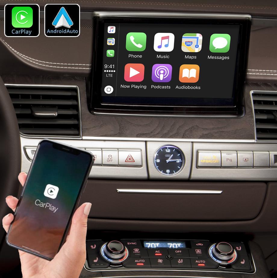 Système Apple Carplay sans fil et Android Auto pour Audi A8 de 2006 à 2018