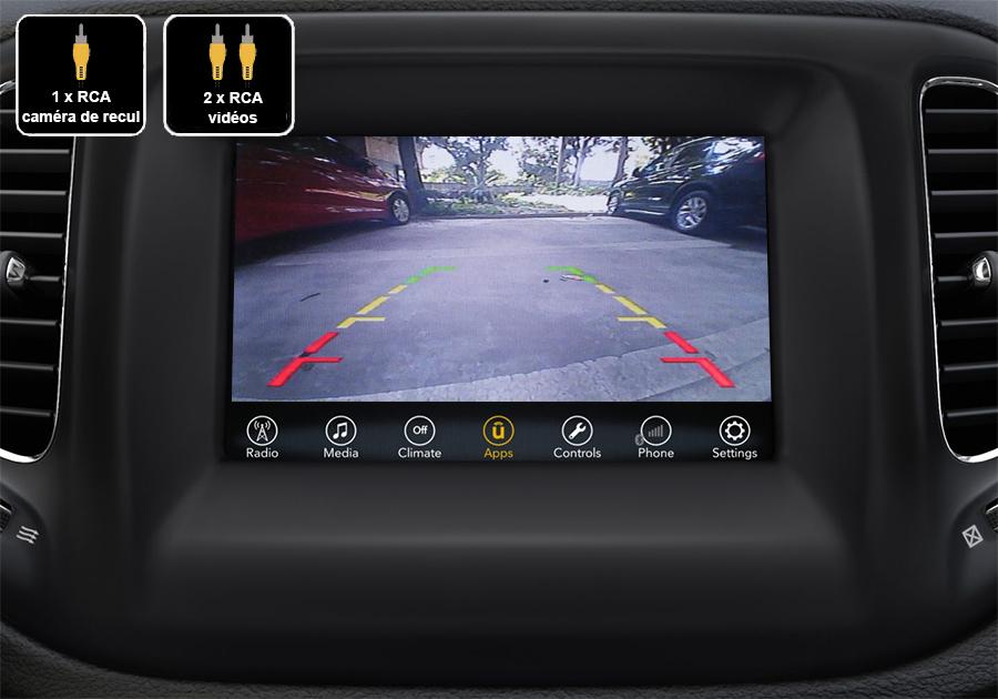 Interface Multimédia vidéo pour caméra compatible Jeep Compass depuis 2016
