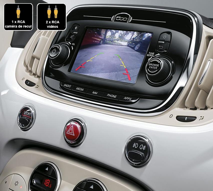 Interface Multimédia vidéo pour caméra compatible Fiat 500 depuis 2015