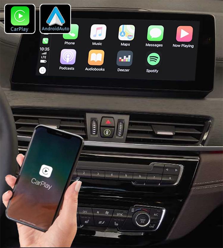 Système Apple Carplay sans fil et Android Auto pour BMW X1 F48 depuis 2016 et BMW X2 F39 depuis 2018