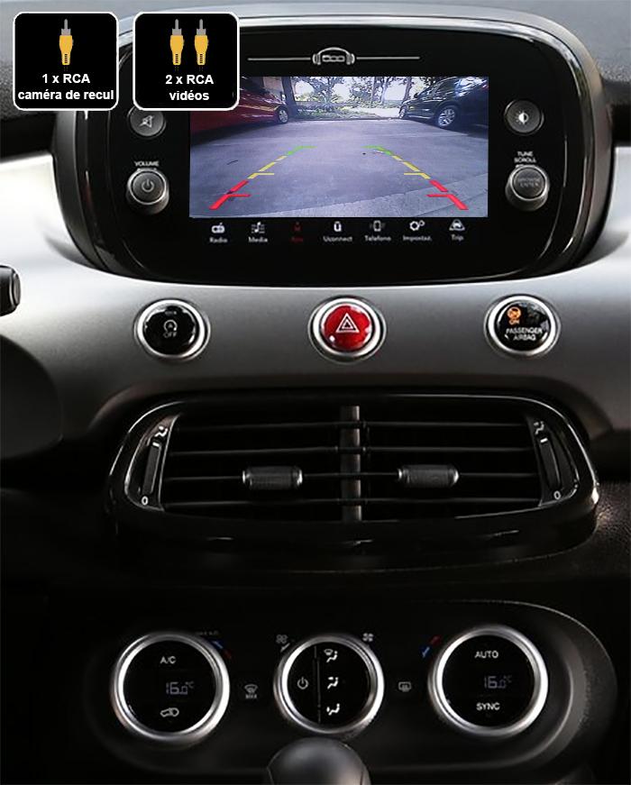 Interface Multimédia vidéo pour caméra compatible Fiat 500X de 2014 à 2018