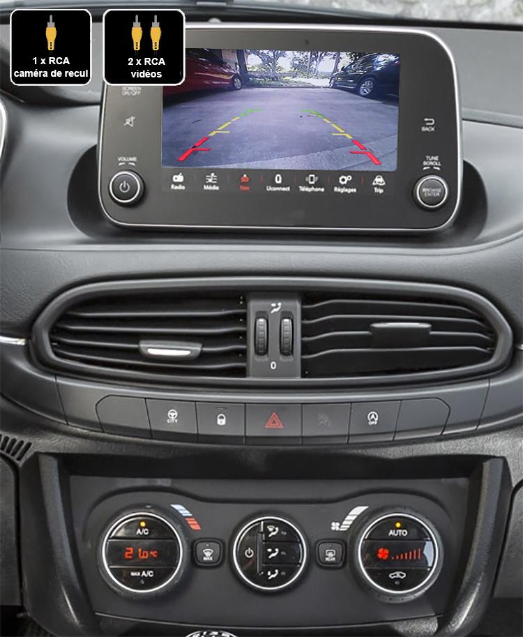 Interface Multimédia vidéo pour caméra compatible Fiat Tipo de 2015 à 2019
