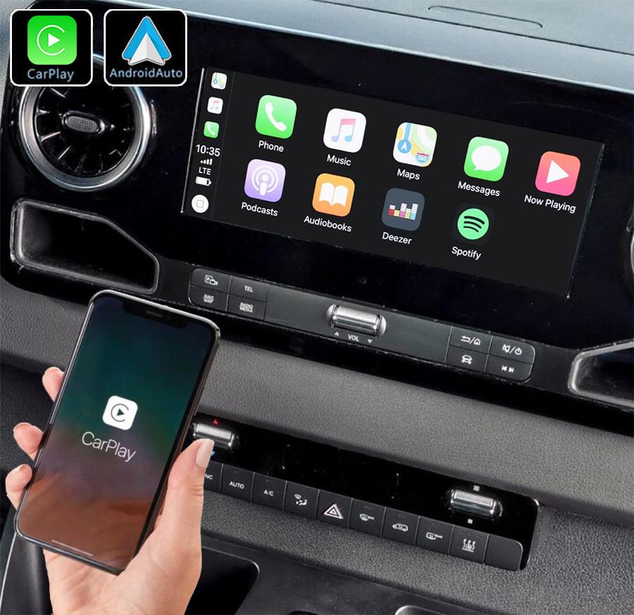 Système Apple Carplay sans fil et Android Auto pour Mercedes Sprinter depuis 2019