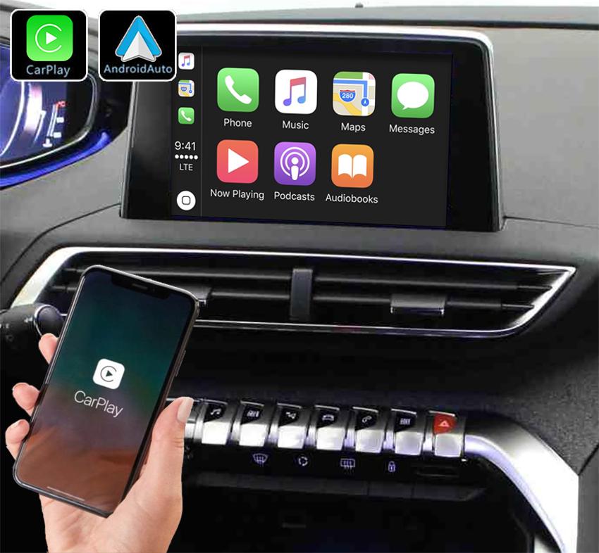 Système Apple Carplay sans fil et Android Auto pour Peugeot 3008 et 5008 de 2016 à 2019