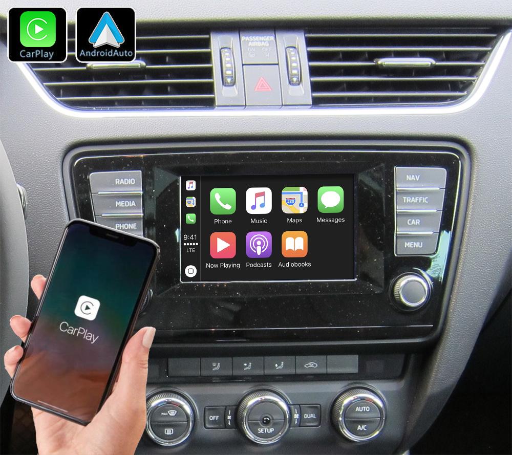 Système Apple Carplay sans fil et Android Auto pour Skoda Octavia de 2013 à 2020