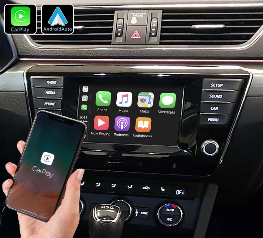Système Apple Carplay sans fil et Android Auto pour Skoda Superb 2015 à 2019