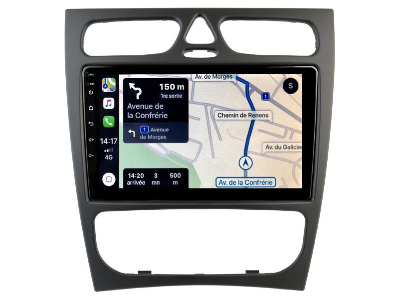 Autoradio GPS à écran tactile QLED Android 10.0 et Apple Carplay sans fil Mercedes Classe C et CLK