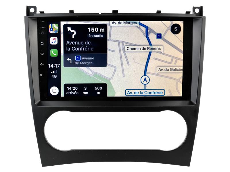 Autoradio GPS à écran tactile QLED Android 10.0 et Apple Carplay sans fil Mercedes Classe C et CLC