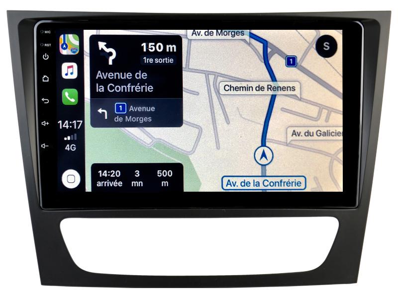 Autoradio GPS à écran tactile QLED Android 10.0 et Apple Carplay sans fil Mercedes Classe E et CLS