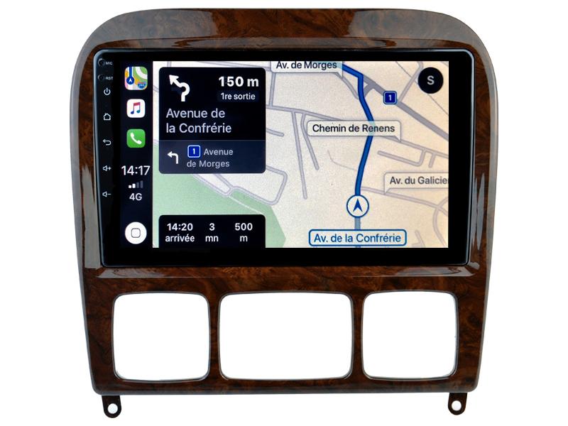 Autoradio GPS à écran tactile QLED Android 10.0 et Apple Carplay sans fil Mercedes Classe S de 1998 à 2005