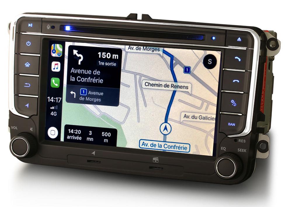 Autoradio tactile GPS Android 10.0 et Apple Carplay Volkswagen Amarok Coccinelle Sharan Transporter Polo Caddy Eos Golf Scirocco Passat Tiguan et Touran