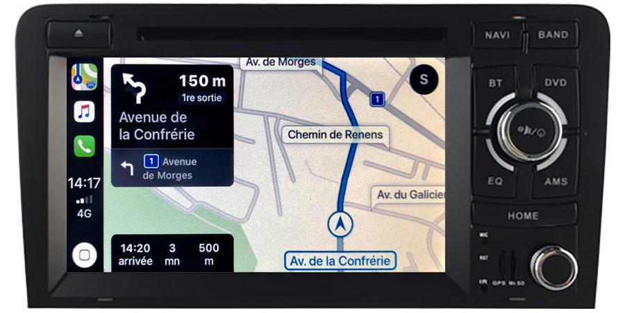 Autoradio tactile GPS Android 11.0 et Apple Carplay Audi A3 de 2003 à 2012