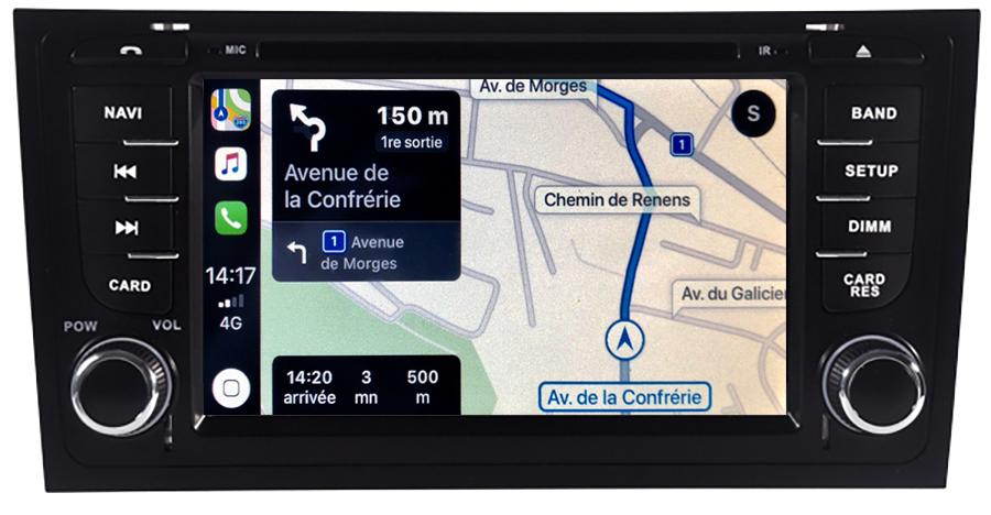 Autoradio tactile GPS Android 11.0 et Apple Carplay Audi A6 de 1998 à 2005