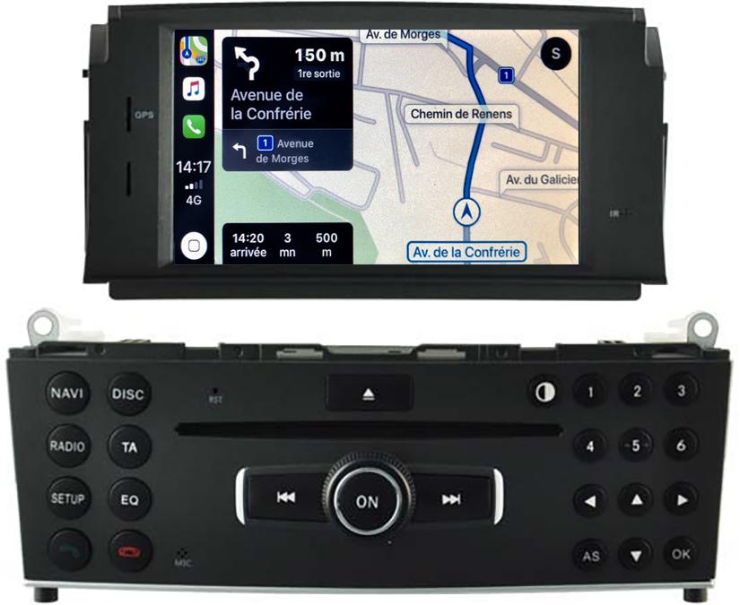 Autoradio tactile GPS Android 11.0 et Apple Carplay Mercedes Classe C W204 de 2007 à 2011