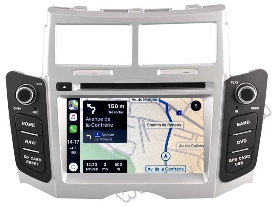 Autoradio tactile GPS Android 11.0 et Apple CarPlay USB Toyota Yaris de 2005 à 2011