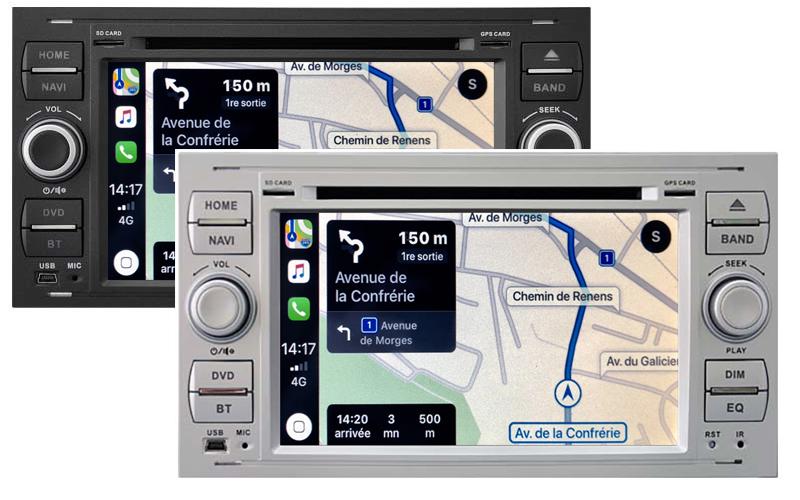Autoradio tactile GPS Android 11.0 et Apple Carplay Ford C-Max, Kuga, Focus, Fiesta, Fusion, Transit, S-Max