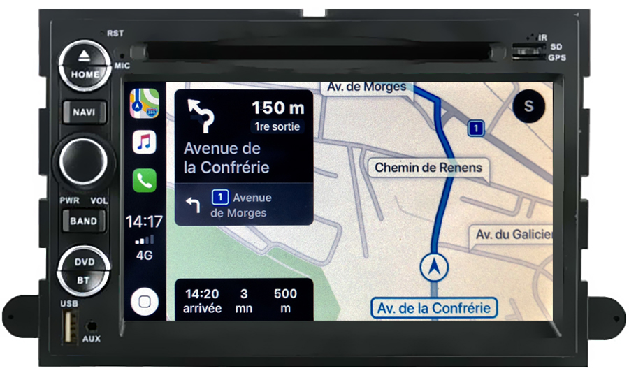 Autoradio tactile GPS Android 11.0 et Apple Carplay Ford F150, Mustang et Explorer