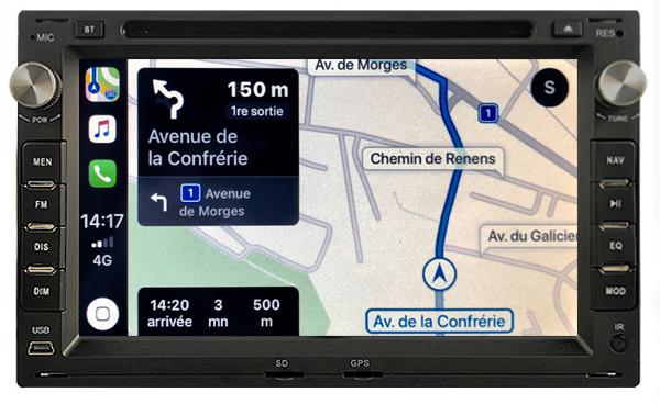 Autoradio tactile GPS Android 11.0 et Apple Carplay Volkswagen Fox Sharan Transporter Polo Golf Bora Lupo et Passat
