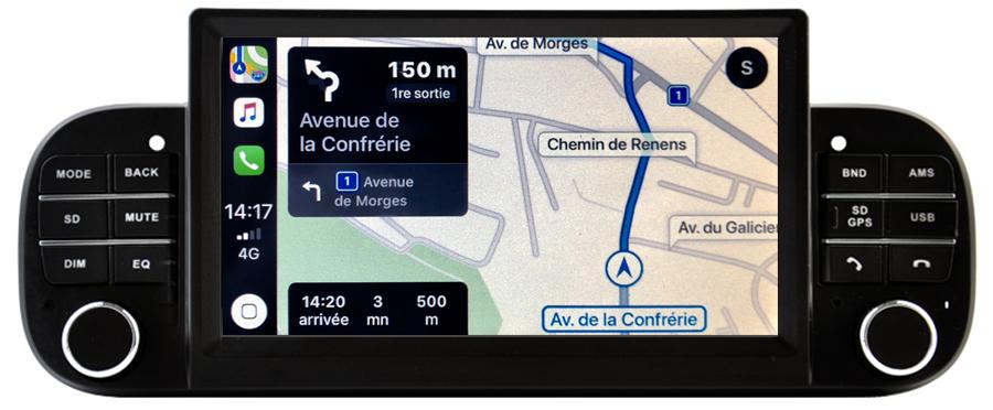 Autoradio écran tactile GPS Android 11.0 et Apple CarPlay USB Fiat Panda de 2012 à 2020