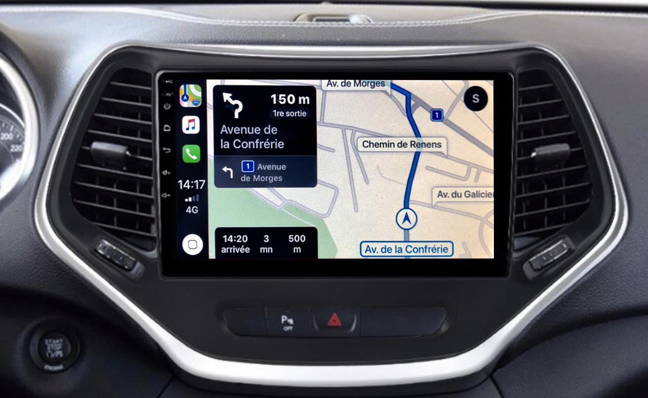 Autoradio GPS à écran tactile QLED Android 11.0 et Apple Carplay sans fil Jeep Cherokee de 2014 à 2018