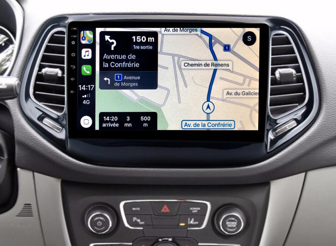 Autoradio GPS à écran tactile QLED Android 11.0 et Apple Carplay sans fil Jeep Compass depuis 2016